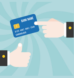 Finger point at credit card vector