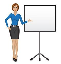 Business woman holds presentation vector image