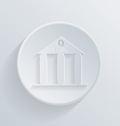 Circle icon with a shadow bank building vector