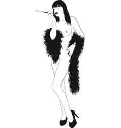 Nude Girl In Boa vector image