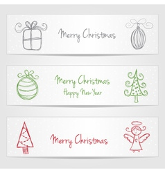 Banners with christmas doodles vector