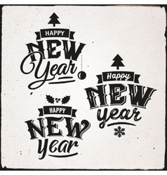 Happy new year set of typographic design vector