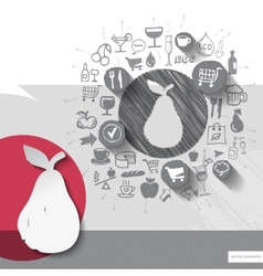 Hand drawn pear icons with food icons background vector