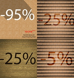 25 5 icon set of percent discount on abstract vector