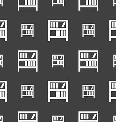 Bookshelf icon sign seamless pattern on a gray vector