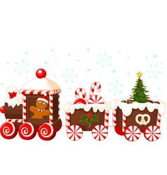 Christmas train made of gingerbread vector