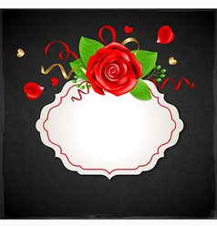 Red rose and green leaves vector