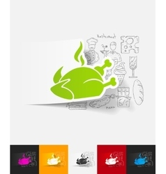 Chicken paper sticker with hand drawn elements vector