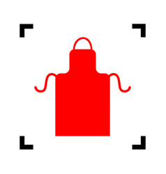 Apron simple sign red icon inside black vector