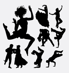 Beautiful dance male and female action silhouette vector