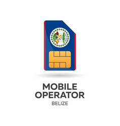 Belize mobile operator sim card with flag vector