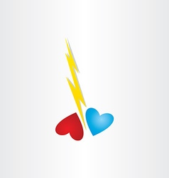 Broken heart thunder divorce love hurts concept vector