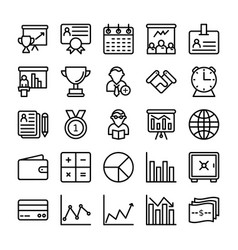 business and office line icons 16 vector image vector image