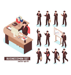 Businessmen isometric set vector