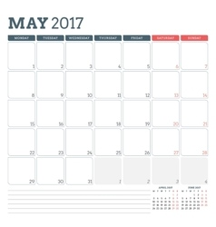 Calendar Planner Template for May 2017 Week vector image