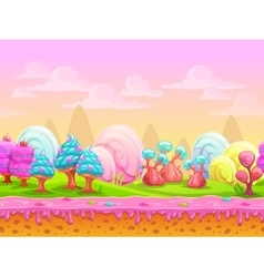 Cartoon fantasy candy land location vector image