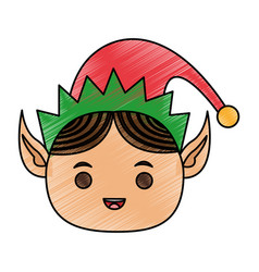 Color pencil cartoon front view face christmas elf vector