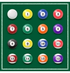 Complete set of billiard balls on a green vector