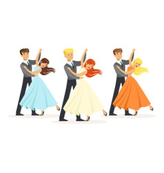 couples of professional ballroom dancers vector image vector image