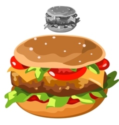 Delicious hamburger in cartoon style isolated vector image vector image
