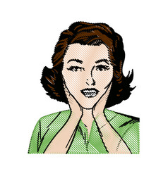 Drawing woman pop art surprised expression vector