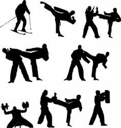 fighting silhouettes vector image