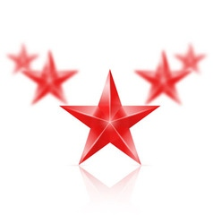 Five red stars in the shape of wedge on white vector image