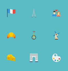 Flat icons unicycle palette cheddar and other vector