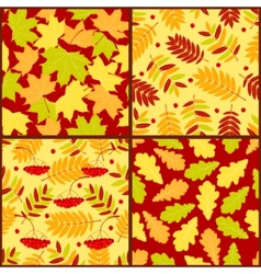 four autumn seamless patterns vector image vector image