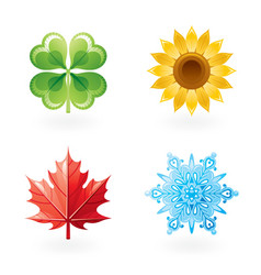 Four seasons nature flat icon set green shamrock vector