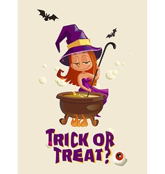 Halloween with witch and crafting pot vector image vector image
