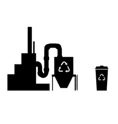 Industry icon silhouette recycling plant vector