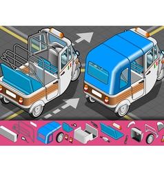 Isometric italian rickshaw in rear view vector