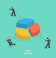 Market share flat isometric concept vector