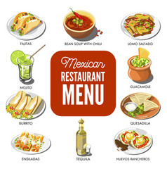 Mexican food cuisine traditional dish icons vector