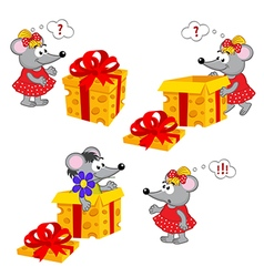 Mouse girl and gift vector