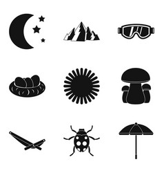 Reference point icons set simple style vector