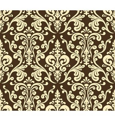 Seamless elegant damask pattern Golden colors vector image vector image