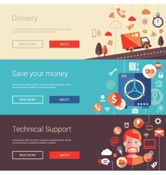 Set of modern flat design business banners vector image vector image