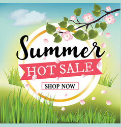 Summer hot sale banner on nature background vector