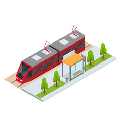Tram and stop station isometric view vector