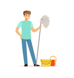 young smiling man cleaning the floor with a mop vector image vector image