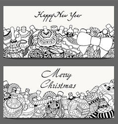 Happy new year christmas banner set vector