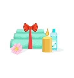 Towels candle and bottle with skincare product vector
