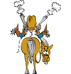 Cowboy shooting his guns vector image