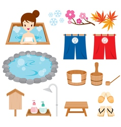 Hot Spring Objects Icons Set vector image