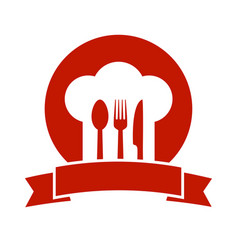 Icon with ribbon chef hat and utensil vector