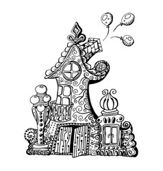 Original hand drawn doodle style fairy house can vector