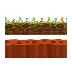 cross section ground slice isolated some piece vector image