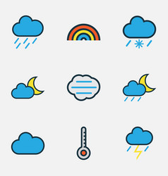 Climate colored outlines set collection of scale vector